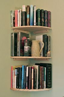 Corner bookshelves - I need some of these.