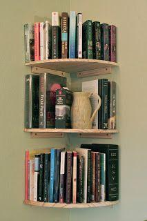Corner bookshelves - I need some of these.