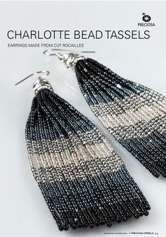 Clever Beaded Tassel Earrings Tutorial - The Beading Gem's Journal - Charlotte Beads, Ombre Color Scheme & Easy Ribbon Assembly Technique