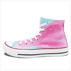 Wen Hand Painted Original Shoes Pink Galaxy Sky Stars Canvas Sneakers Woman Girl (*Partner Link)