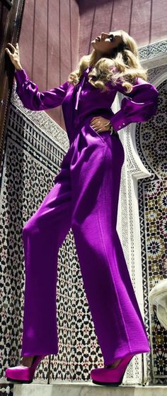 Wow lots of purple . Purple Love, All Things Purple, Shades Of Purple, Unique Fashion, Love Fashion, Womens Fashion, Purple Pages, Satin Jumpsuit, Magenta