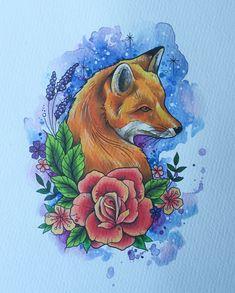 Fox tattoo print fox painting tattoo print woodland home decor fox gifts fox art tattoo design tattoo gifts Outline Drawings, Animal Drawings, Art Drawings, Fox Painting, Painting Tattoo, Tattoo Art, Sphynx Cat Tattoo, Fuchs Tattoo, Fox Drawing