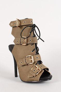 7f740388669d06 Wild Diva Lounge Strappy Open Toe Heel Steampunk Shoes