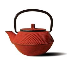 """Red Cast Iron Tokyo Teapot 11 Oz - Unity(R) Cast Iron """"Tokyo"""" Teapot – Red finish. An elegant, distinctly shaped cast iron Tetsubin teapot named after the beautiful and ancient city of Tokyo, Japan. Inspired by highly prized antique Japanese cast iron teapots still in use today. Features a black porcelain enamel interior coating that helps prevent rust Includes a stainless steel tea brewing basket for ease of preparation for brewing and serving tea. Not intended for stovetop use. 11 oz. capa"""