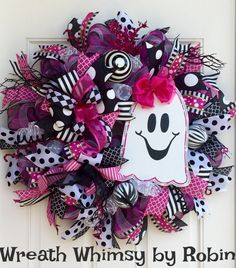 Halloween Deco Mesh Pink and Black Wreath with Hand Painted Wood Ghost, Fall Wreath, Halloween Decoration, Ghost Wreath by WreathWhimsybyRobin on Etsy