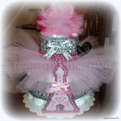 How Sweet For A Baby Girl!!  French Paris Themed Tutu Diaper Cake For A Baby Shower Centerpiece.  I LOVE The Pink And Black Theme With The Eiffel Tower.  The French Poodle Decor Would Be Too Cute For The Princess Party.