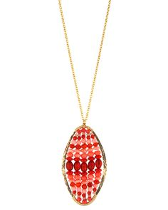 """Dana Kellin Cayenne Mix Large Oval Necklace14K gold fillCayenne mix beads19"""" chain2""""L x 11/4""""WHandcrafted wire wrapMade in the USA"""