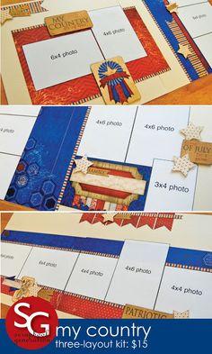 scrapbook generation: Ten new patriotic layout kits!