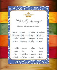 Baby Shower Game, Who's My Mommy, Baby Animal Guessing Game, Blue and White, Crown, Prince, Princess, Printable, Instant Download - TFD577 by TipsyFlamingoDesigns on Etsy