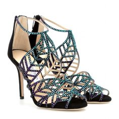 Jimmy Choo Kaci Crystal-Embellished Suede Sandals (£1,275) ❤ liked on Polyvore featuring shoes, sandals, heels, blue bottle mix, jimmy choo shoes, blue suede shoes, jimmy choo sandals, slip on sandals and stiletto sandals