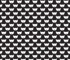 Adorable black and white kitten fun cat illustration in scandinavian abstract style print for kids and cats lovers fabric by littlesmilemakers on Spoonflower - custom fabric