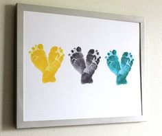 Gift for New Mom - Baby Feet Heart Print (x3) - Gift for New Dad, New Grandma, New Grandpa, Baby Shower - Nursery Art in Yellow, Gray, Blue.