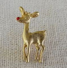 Vintage Rudolph Red Nose Rhinestone Gold Tone Tie Tack Pin Original Card Crystal #NotSigned