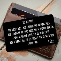 relationship gifts To My Man Youre My Missing Piece - Wallet Insert Love Note Cute Boyfriend Gifts, Valentines Gifts For Boyfriend, Love Notes To Your Boyfriend, Love Notes For Him, Monthsary Message For Boyfriend, Boyfriend Birthday Ideas Creative, Creative Boyfriend Gifts, Welcome Home Ideas For Boyfriend, Diy Birthday Gifts For Boyfriend