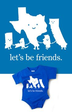 Love this Let's Be Friends apolitical baby onesie from Wry Baby - also available in a red + blue = purple.