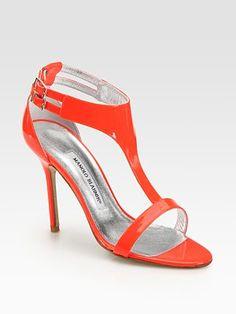 Manolo Blahnik - Patent Leather T-Strap Sandals - Saks.com HELLO SUMMER
