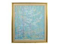 Impressionist-like landscape of a grove of trees, rendered in soft, pastel colors by  D. Putnam Brinley. #EBTH