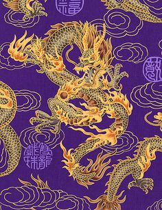 The dragon has been a common symbol of identity for East Asian cultures. Known in Chinese as lung, the Asian dragon was believed to have originated in China. Japanese Embroidery, Japanese Fabric, Japanese Art, Oriental, Chinese Emperor, Fire Breathing Dragon, Chinese Dragon Tattoos, Dragon Artwork, Year Of The Dragon