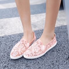 2016 Summer Womens Floral Flat Heel Sweet Candy Shoes Pointy Toe Slip On Casual
