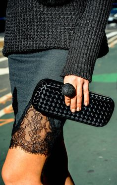 sweater: RD Style, Clutch: Bottega Veneta, mini skirt: Zara