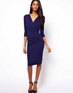 ASOS: Pencil Dress with Wrap Front in navy // $53.20