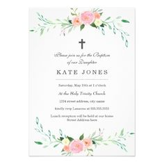 Baptism Invitations Sweet Floral Baptism Invitation