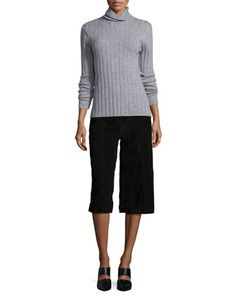 Ribbed Wool/Cashmere Turtleneck Sweater & Suede Culottes by Bagatelle at Neiman Marcus.
