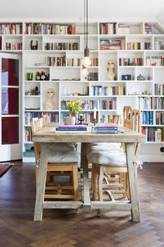 books, table, flowers