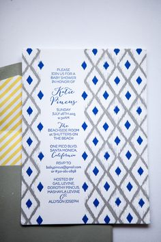 #paper-goods, #ikat, #baby-shower, #stripes, #invitations, #blue, #yellow, #graphic, #geometric  Photography: Maya Myers Photography - mayamyers.com  Read More: http://www.stylemepretty.com/living/2014/01/06/smp-living-graphic-print-inspired-baby-shower/