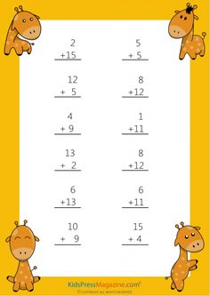 Easy Sums – Add to 20 Worksheet – #6 #1st #grade #math #simple #addition #worksheet