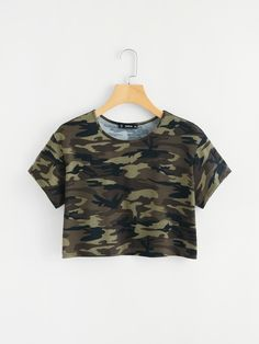 SheIn offers Camo Print Crop Tee & more to fit . SheIn offers Camo Print Crop Tee & more to fit your fashionable needs. Source by lorexia Crop Top Outfits, Cute Casual Outfits, Teen Fashion Outfits, Outfits For Teens, Ootd Fashion, Fashion Black, Fashion Women, Fashion Ideas, Fashion Dresses