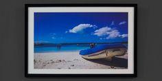 Blue Boat on a Beach Custom Framed Photograph by TobysLittleShop, $319.95