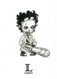 L is for Leatherface (The Texas Chainsaw Massacre) - Tiny Creatures Alphabet (by David G. Forés) - Original drawing for sale: www.untipoilustrado.com/shop Scary Drawings, Dark Art Drawings, Halloween Drawings, Cartoon Drawings, Horror Movie Tattoos, Horror Cartoon, Gothic Fantasy Art, Doll Tattoo, Horror Artwork