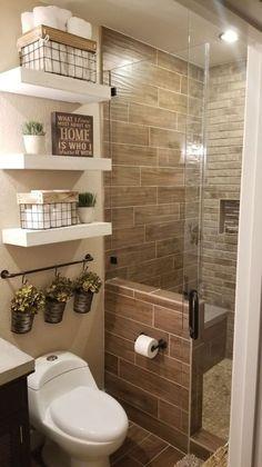 Love the white floating shelves...#floating #love #shelves #white Small Bathroom Storage, Bathroom Design Small, Bathroom Layout, Tile Layout, Bath Design, Small Master Bathroom Ideas, Simple Bathroom Designs, Bedroom Storage, Toilet Design