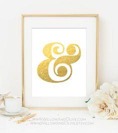 Kaufmännisches und-Zeichen Faux Blattgold Kunstdruck - White & Gold - Gold Home Dekor - Imitation Gold Leaf - Gold Typografie Ampersand - Innenministerium Wandkunst