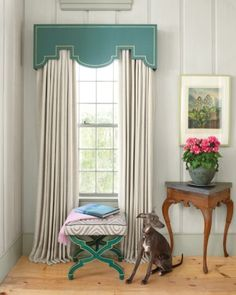 I like that the cornice board and the ottoman frame are the same color and style. Inspiration for window treatments for the dining room. Cornice Boards, Cornice Box, Cornice Ideas, Box Valance, Pelmets, Custom Window Treatments, Window Dressings, Window Styles, Drapes Curtains