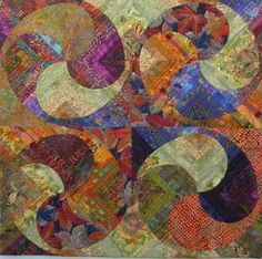 """""""Swirl"""" by Louisa Smith. look at this wall hanging as 4 blocks of 4 blocks to see that each small block is made up of 3 pieces."""