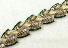 Kramer Green Rhinestone Baguette Bracelet - Garden Party Collection Vintage Jewelry