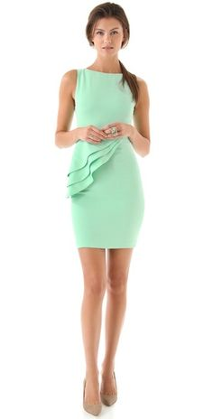 Unique take on the peplum trend...and you know I love that mint color!!! alice + olivia Spelling Side Peplum Dress