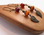 Dangle Leaf Earrings Woodland Earrings Bead Dangle Earrings Leaf Earrings Cranberry & Tangerine Bead Earrings Glass Earrings Beaded Earrings