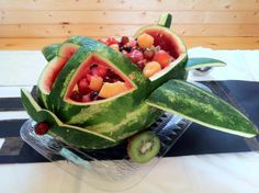Watermelon airplane for an Air Force going away centerpiece