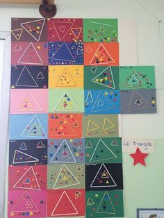 Art Activities For Kids, Preschool Activities, Art For Kids, Kindergarten Art, Preschool Math, Maths, Teaching Shapes, Teaching Art, Triangle Art