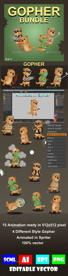 Gopher Pack Sprite Character — Vector EPS #animal #character • Available here → https://graphicriver.net/item/gopher-bundle-sprite-character/18921812?ref=pxcr