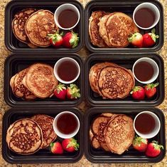 If we can recommend one thing this weekend meal preppers....MEAL PREP PANCAKES!! They will change your life!  _ Peanut butter protein pancakes with strawberries and light table syrup Ingredients: 2 large eggs 1 cups skim milk 1 cup nonfat plain Greek yogurt (can use vanilla if you want for more sweetness) 1 teaspoons vanilla extract  cup natural creamy peanut butter 2 cups White Whole Wheat Flour 2 teaspoons baking powder  teaspoon salt Instructions Preheat griddle or skillet to medium heat…