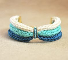Ombre bracelet teal bracelet from cotton with blue by LeiniJewelry, €12.90