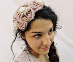Rose Chiffon and Velvet Fascinator w/ Glass Pearl and Swarovski Crystals by KaylaJeanneMillinery, $37.00