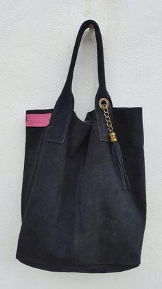 Tote Bag black suede large Tassle Wildstar spring 2016