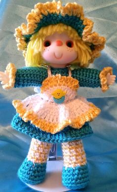 "Adorable Vintage Style OOAK Hand Crocheted Doll - ""Easter Chick"""