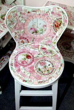 Shabby Mosaic White Metal Kitchen Chair-SOLD