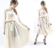 1970s Wedding Dress / Vintage Bridal Dress / Silk Lace Dress
